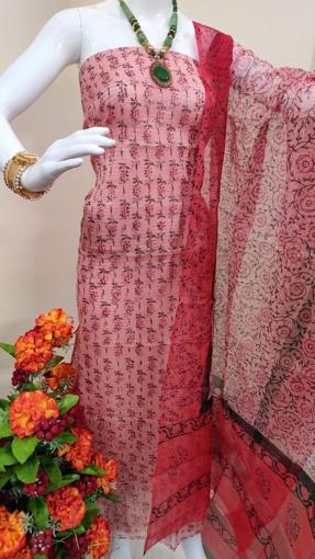 Kota doria block print suits for women in red