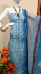 Kota doria block print suits for women in blue