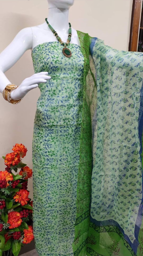 Kota doria block print kurtis in green