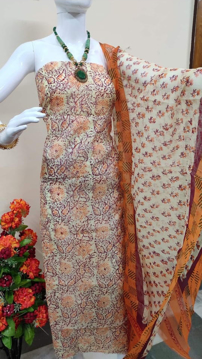 Kota doria suits with block print work in cream color