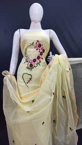 Embroidery work kota doria suits with flower embroidery