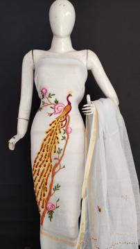 Kota doria peacock embroidery salwar suits