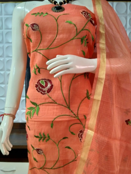 Embroidery work kota doria suits with rose embroidery