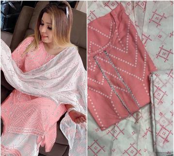 Pink color bandhani design kurti plazzo set with dupatta.