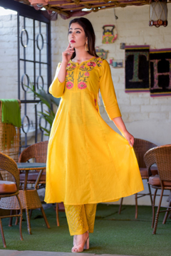 Yellow embroidered kurti pants dress for women