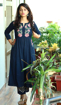 Navy blue embroidered kurti pants dress for women
