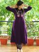Purple embroidered kurti pants dress for women
