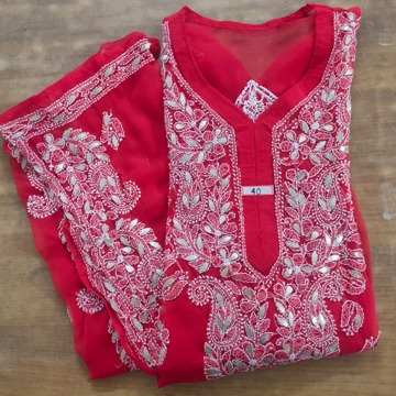 Red lucknowi chikankari kurti with gota patti