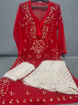 Red Luchnowi Chikankari Sharara Dress