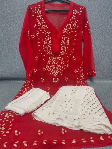 Red Luchnowi Chikankari Sharara Dress