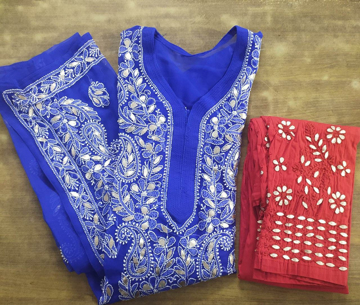 Blue Lucknowi Chikankari Kurti With Red Pants
