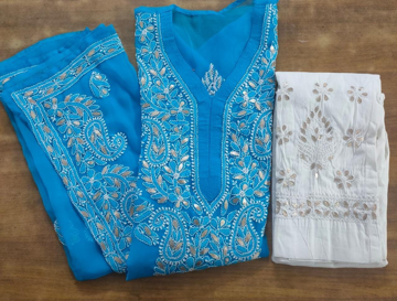 Blue Luchnowi Chikankari Kurti With Pants (white)