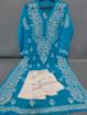 Blue Luchnowi Chikankari Kurti With Pants (white)