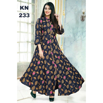 Rayon Designer Kurti With Gold Print