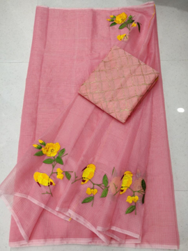 Kota doria embroidery saree with blouse