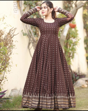 Rayon Long Kurti With Gold Print
