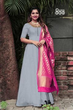 Grey Ethnic Gown With Banarsi Dupatta