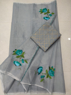 Grey Kota doria saree with blouse print