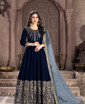 Navy Blue Traditional Ethnic Gown With Dupatta