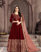 Maroon Traditional Ethnic Gown With Dupatta