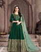 Dark Green Traditional Ethnic Gown With Dupatta