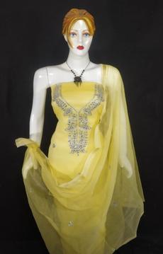 Yellow kota doria suit with kundan work
