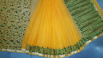 Kota doria cotton saree with thread work design with blouse.