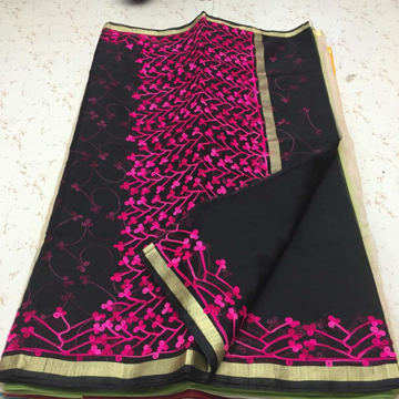 Kota Sarees With Embroidery Work - Black