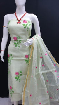 Kota Doria Dress Material With Embroidery Work - White