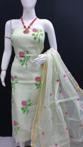 Kota Doria Dress Material With Embroidery Work - White