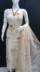 Kota Doria Dress Material With Embroidery Work - Off White