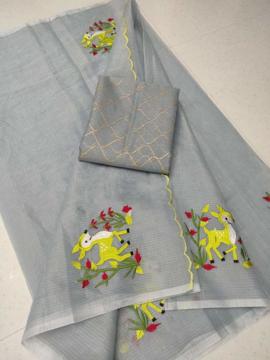 Embroidery work kota doria sarees with blouse piece.