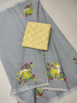 Embroidery work kota doria sarees with yellow blouse piece