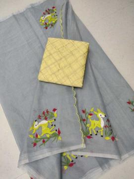 Embroidery work kota doria sarees with yellow blouse piece