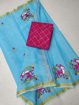 Blue Kota doria embroidery work saree with red blouse piece
