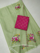 Green Kota doria embroidery work saree with red blouse piece
