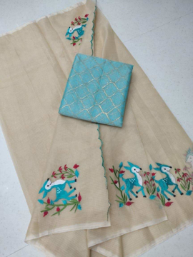 Embroidery work kota doria sarees with light blue blouse piece