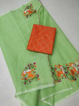Embroidery work kota doria sarees with orange blouse piece
