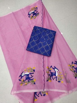 Embroidery work kota doria sarees with navy blue blouse piece.