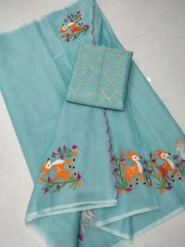 Embroidery work kota doria sarees with aero blue blouse piece