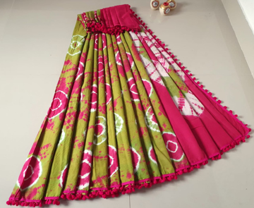 Cotton hand block print sarees for women