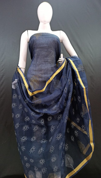 Navy blue Kota doria printed suits with dupatta