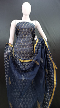 Kota doria navy blue dress material with printed top and dupatta