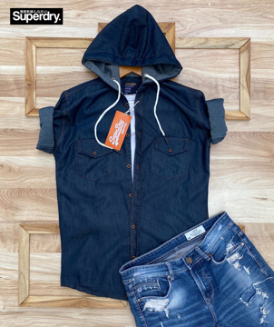 Superdry oxford blue denim shirt with hoodie