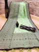 Soft linen cotton slub saree with ikkat style print blouse