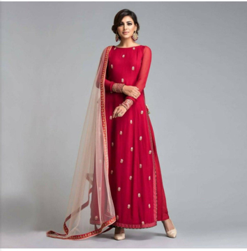 Embroidered Georgette Kurti Dress Material