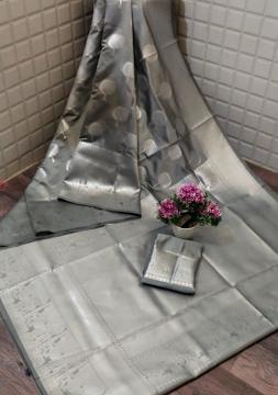 Grey silk saree with zari work