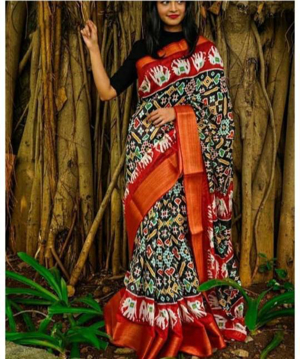 Cotton saree with zari border and ikkat print