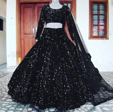 Black velvet sequins lehenga