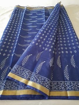 Kota Doria block print sarees in Blue